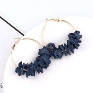 Jewelry - Blue Flower Petal Hoop Earrings